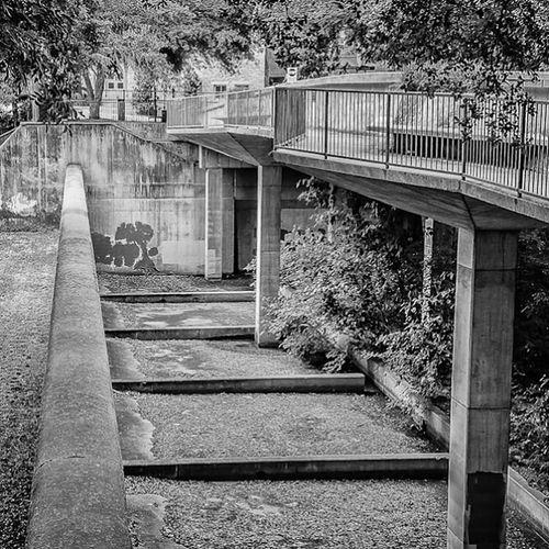 Concrete Bridge DFW Dallas Turtlecreek Bridges uptowndallas bw blackandwhite monochrome latergram