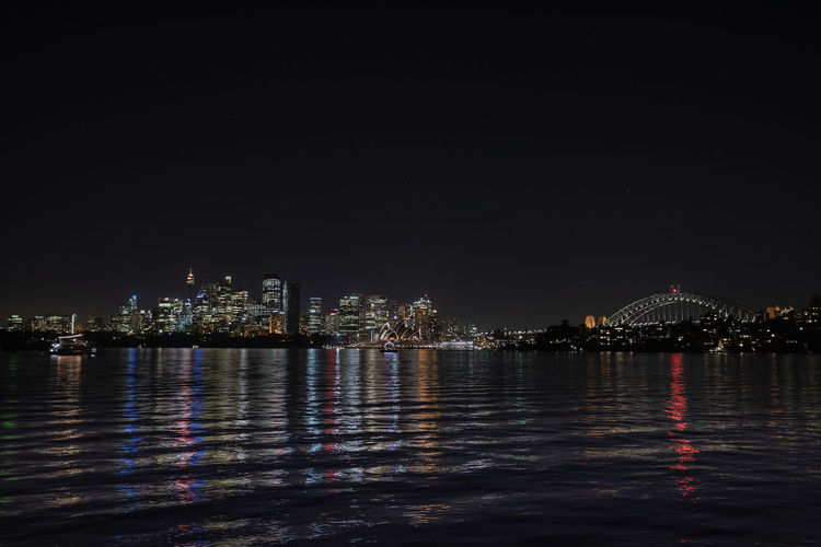 Night Water Architecture Built Structure Building Exterior City Illuminated Sky Reflection Waterfront No People Copy Space Travel Destinations Nature Cityscape Sea Transportation Building Outdoors Office Building Exterior Skyscraper Nightphotography Sydney Cityscape City