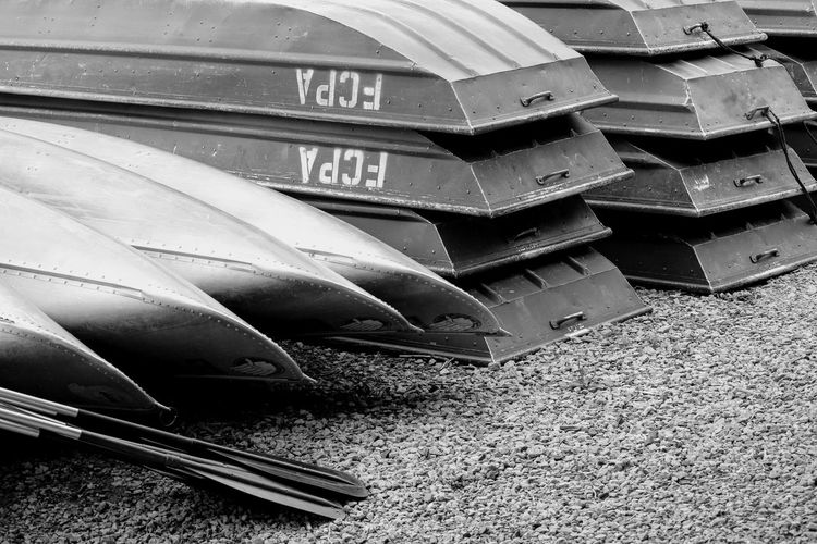 No People Transportation Outdoors Day Close-up High Angle View Tranquil Scene EyeEm Selects Closing Full Length Black Color Taking Photos Enjoying The View Tranquility Blackandwhite Photography EyeEm Scenics Lake Water Boat Gravel Black & White Abstract Stacked Up Linear