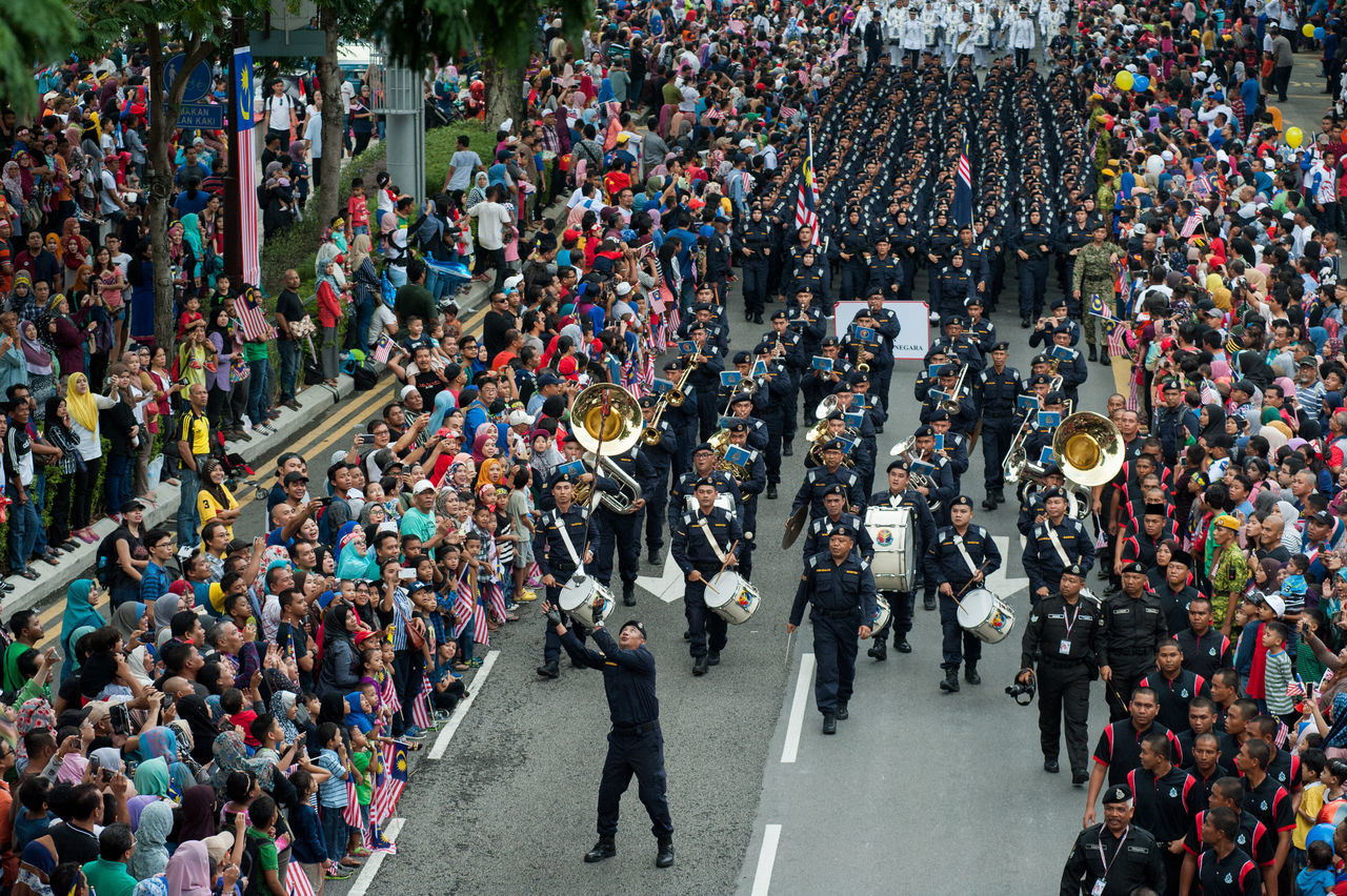 large group of people, crowd, high angle view, day, men, people, uniform, togetherness, outdoors, standing, adult, adults only, only men