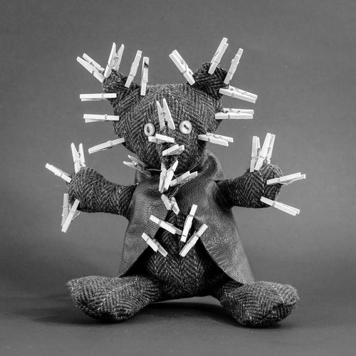 A tortured teddy bear. Clips Laundry Teddy Torture Addiction Black And White Photography Clip Conceptual Photography  Crisis Exhausted Laundry Clips Mental Mental Health  No People Punishment Studio Shot Teddy Bear Teddy Bear 🐻 Tired Wooden Clips