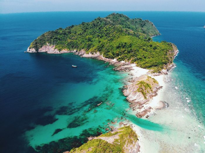Top view of the island Dronephotography Thailand Island Background Isolated Island Water Sea Beauty In Nature Scenics - Nature Beach Land Tranquility Tranquil Scene Idyllic Nature Sky High Angle View Island No People Blue Day Plant Coastline Outdoors Horizon Over Water