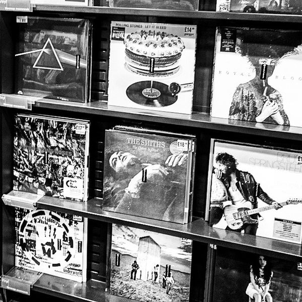 Anyone got a record player? Records LPs Hmv Stevenage Music Shop Store Sounds Art Vinyl RollingStones TheSmiths TheStoneRoses AmyWinehouse BruceSpringsteen TheWho PinkFloyd bw blackandwhite