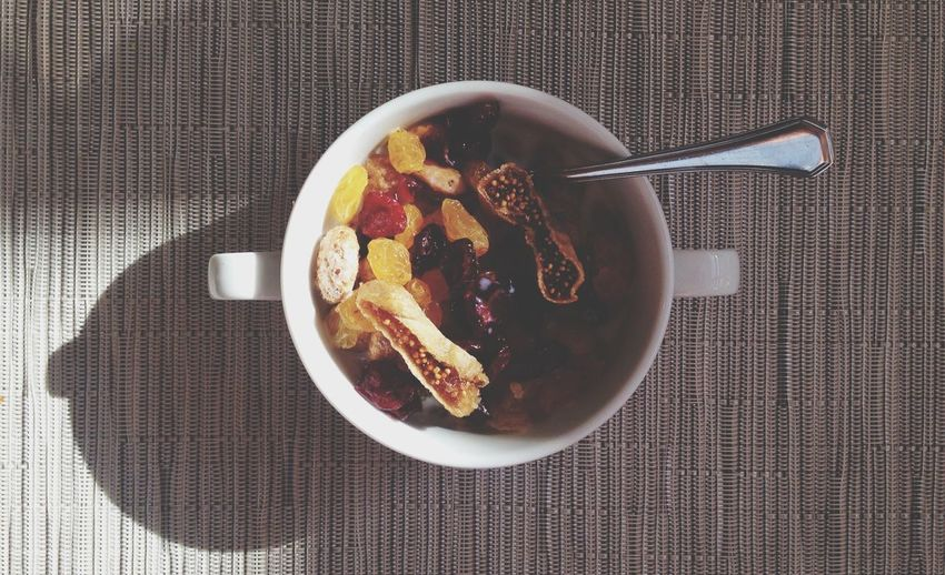 Directly above shot of dried fruits in bowl