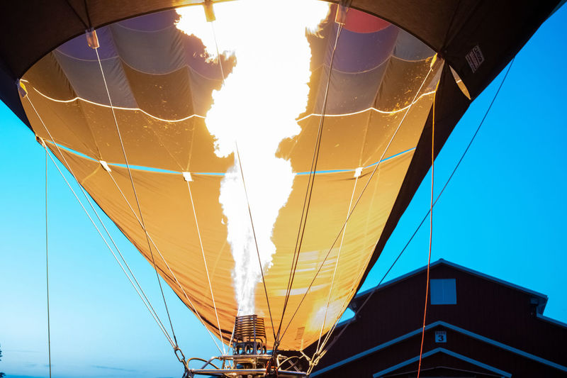 Transportation Sky Hot Air Balloon Mode Of Transportation Nature Adventure Air Vehicle Sunlight Day Balloon Outdoors Travel Rope No People Clear Sky Low Angle View Environment