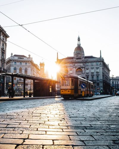 Sunrise in Milano! Italia Tram Alba Sunrise Mode Of Transportation Transportation Cable Car No People Rail Transportation Cobblestone City Streetphotography