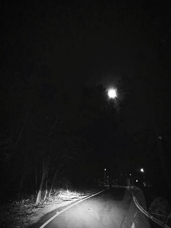 Night Moon Car Illuminated Transportation Road No People Sky Outdoors