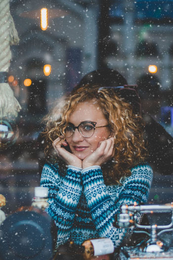 Bookworm EyeEm Best Shots Fashion Fine Art Photography Getty Images Premium Collection Nerd Beautiful Woman Comfy  Curly Hair Eyeglasses  Fine Art Model Mood Portrait Posing Snow Snowing Warm Clothing Weather Week On Eyeem Winter