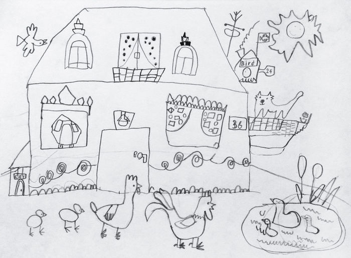 Alex Drawing Back Yard Balcony Cat Chicken - Bird Child Drawing Doodle Drawing - Art Product Goose Goslings Hand Drawing Hen House Imagination Outdoors Paper Pencil Pencil Drawing Picture Poultry Rooster Sketch Sun Yard Алекс рисует 7 years old 5 lesson