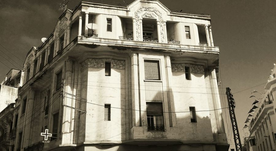 Art Historical Building Building Exterior Urban Exploration CasablancaStreets City Life Ardeco Art Deco Architecture Old Buildings Artdecostyle ArtDecoArchitecture Architecture_bw Cities Urban Style Urban Life Black And White Adapted To The City