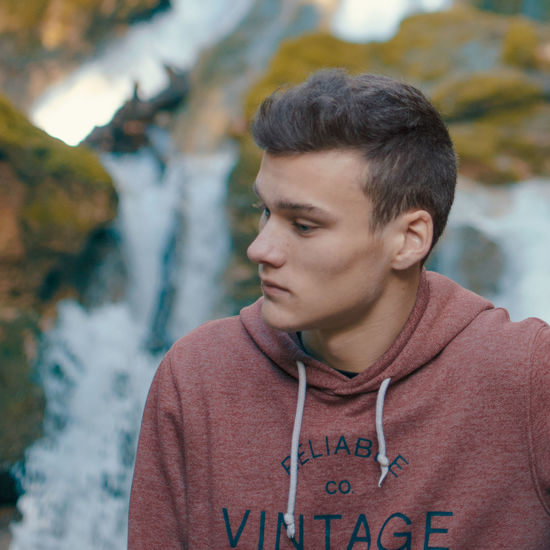 Waterfall Portrait Mallorca Casual Clothing Close-up Day Focus On Foreground Front View Headshot Leisure Activity Lifestyles Nature One Person Outdoors Portrait Real People Salt Des Freu Water Waterfall Young Men