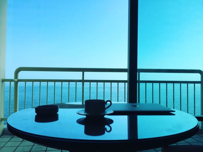Table Blue Railing Sky No People Clear Sky Day