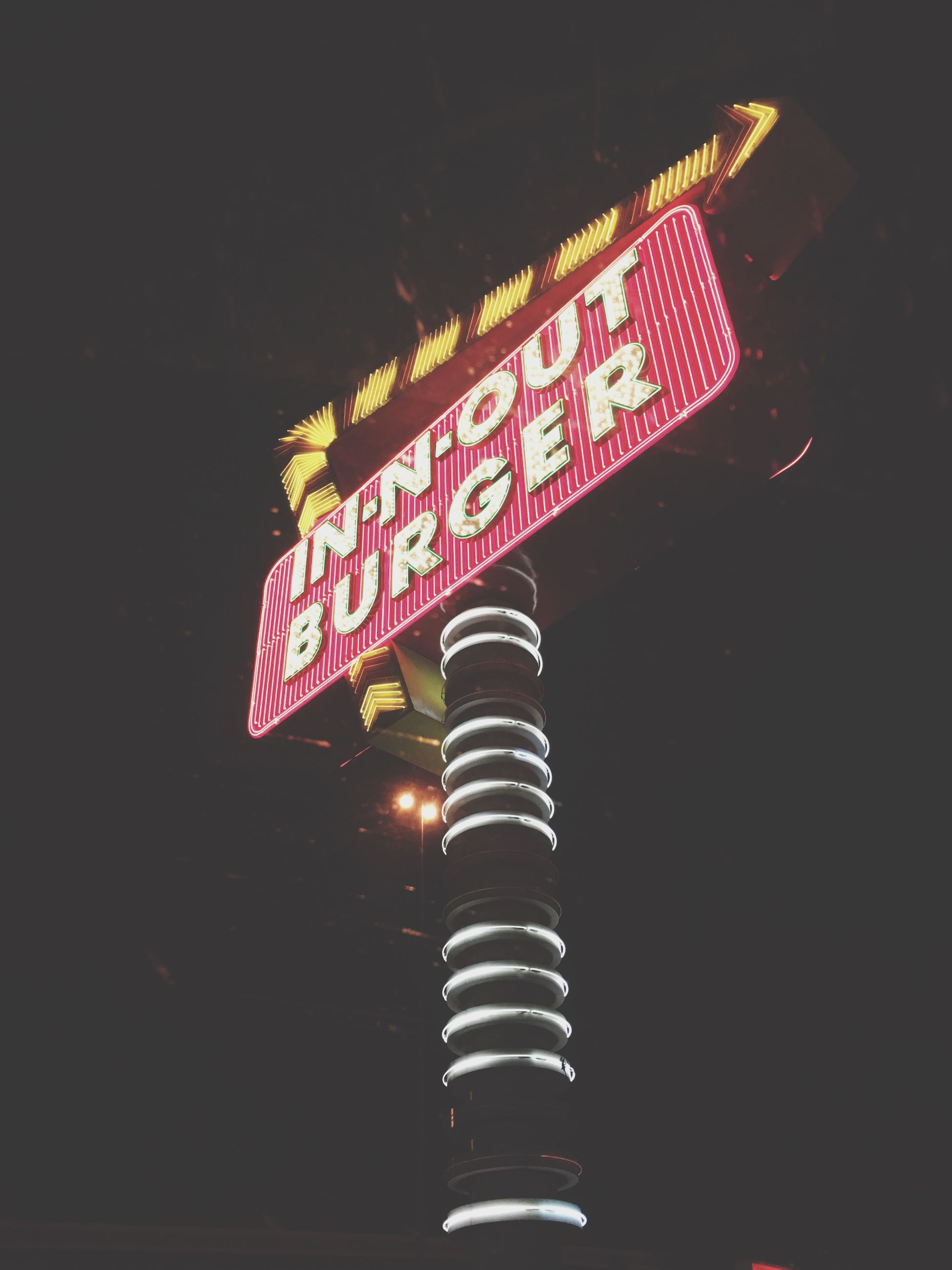 text, communication, illuminated, low angle view, night, no people, lighting equipment, outdoors, neon, sky