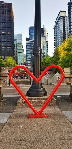 City No People Built Structure Cityscape Red Architecture Urban Skyline Sky Vancouver Heart Heart Shaped  Sculpture Bike Rack Lamp Post Outdoors Modern Building Exterior Day The Week On EyeEm Colour Your Horizn
