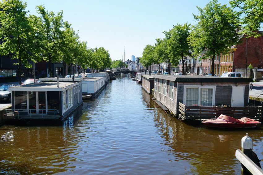 houseboats at Schuitendiep canal Architecture Boat Canal City Day Dutch Europe Groningen Holland House Boat Houseboat Moored Netherlands No People River Schuitendiep Travel Water