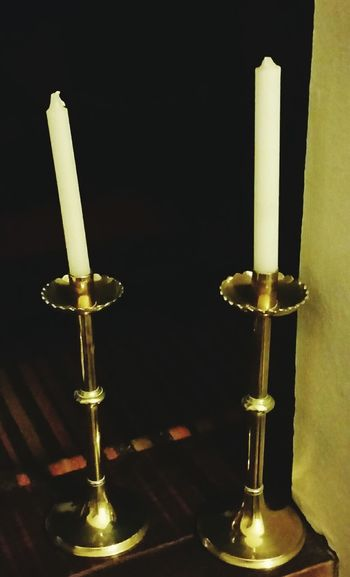 Polished Brass Black Background Two Objects Candlestick Holder Candlelight Candle Pair