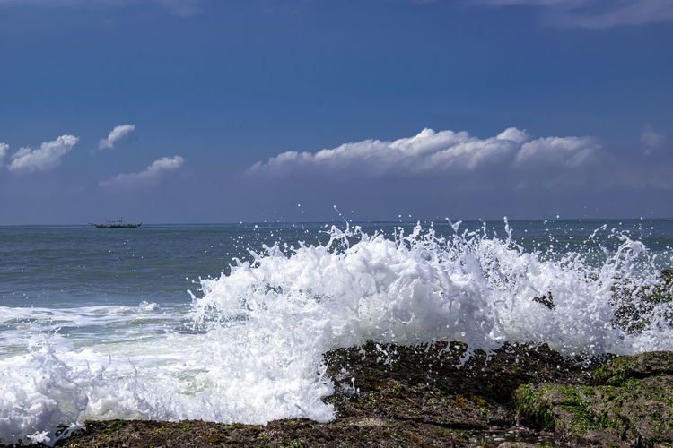 Sea view with wave outside the city of accra. ghana.