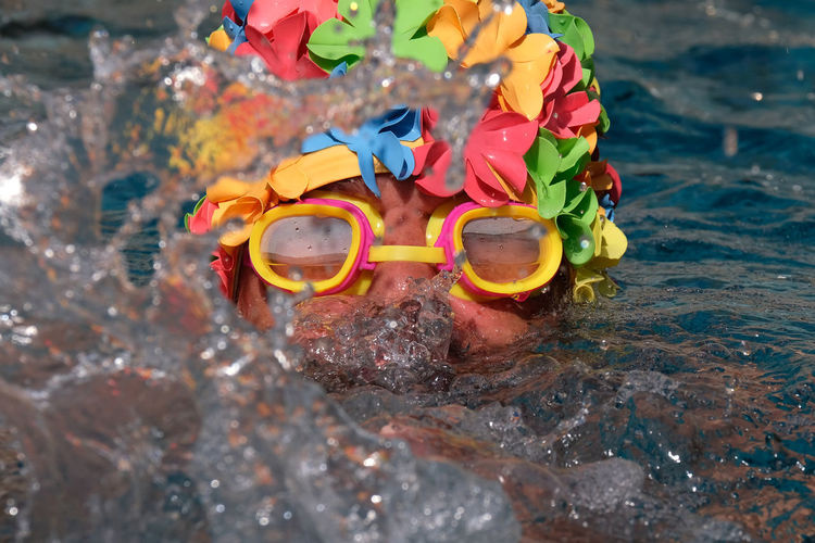 Close-Up Of Man Wearing Swimming Goggles While Swimming In Sea