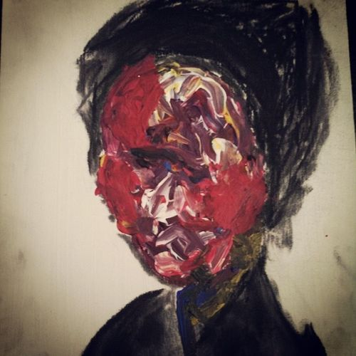Colored by society, unable to show her face. Abstract Art Aerieart Artproject face charcoal