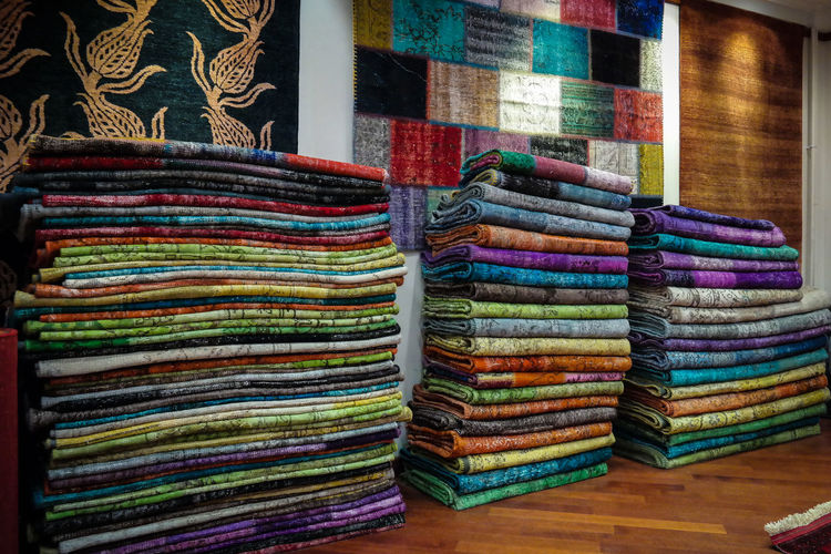Close-up of colorful fabrics for sale
