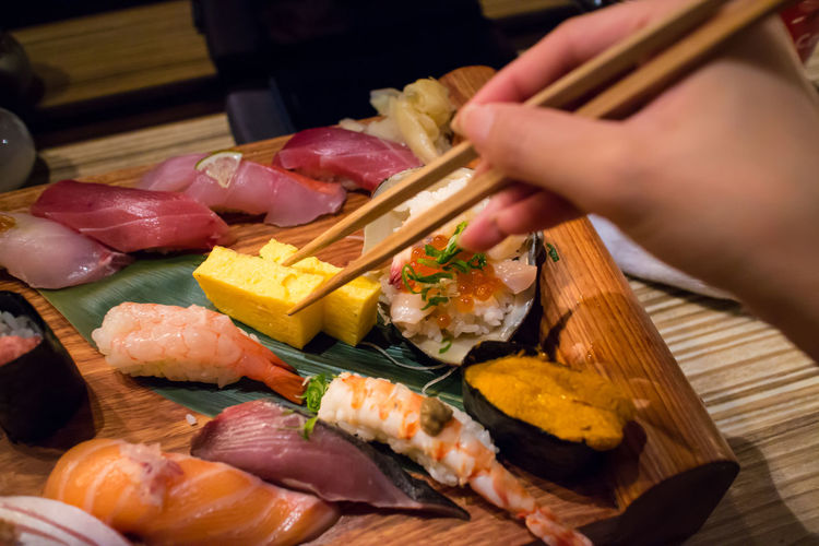 Close-Up Of Sushi On Wooden Tray