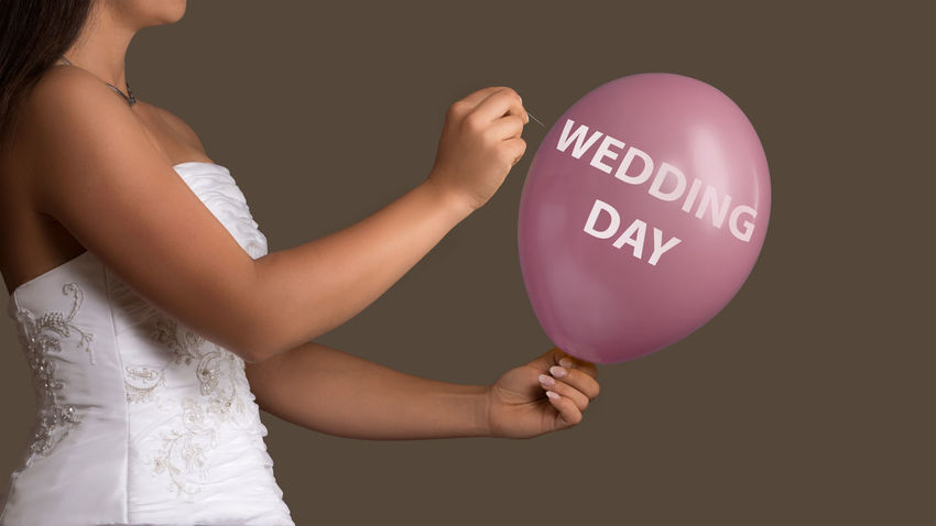 Balloons Bride Burst Concept Destroy Divorce Dress For Ever Holding Human Hand Love Marriage  Needle One Person Out Over People Save The Date Single Text Wedding Wedding Day Wedding Dress