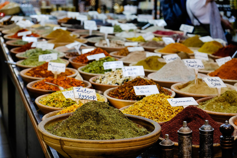Colourful display of spices in a market