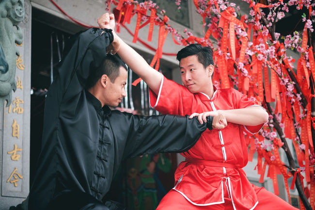 Shaolin kungfu. Adult Adults Only Athlete Day Kungfu  Men Only Men Outdoors People Sport Two People Warrior Wushu Wushu Sanda Young Adult