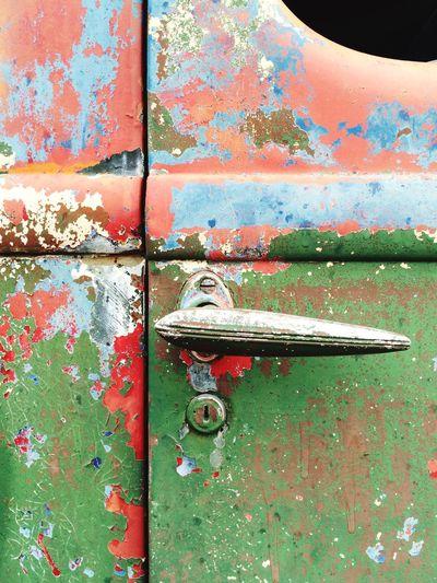 Old Old Car Vintage Vintage Car Peeling Paint Car Door Car Door Handle Colorful