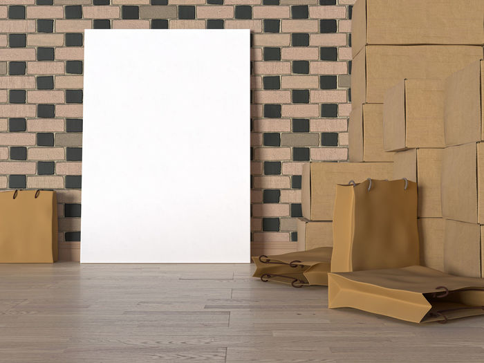 Mock up poster in storage room. Indoors  Wall - Building Feature Flooring No People Tile Architecture Tiled Floor Wall Domestic Room Built Structure Copy Space Home Interior White Color Paper Home Absence Blank Entrance Bathroom Door