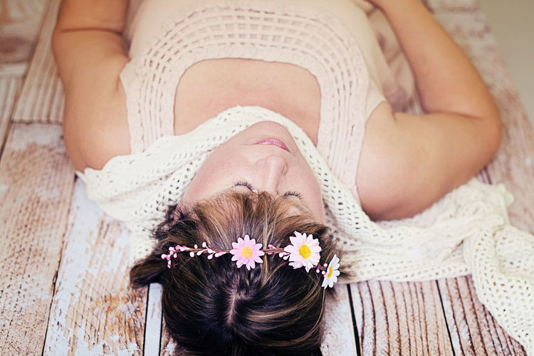 Abdomen Adult Adults Only Beautiful Woman Beauty Bouquet Close-up Day Flower High Angle View Human Body Part Indoors  Lifestyles Lingerie Midsection One Person Only Women People Portrait Real People Women