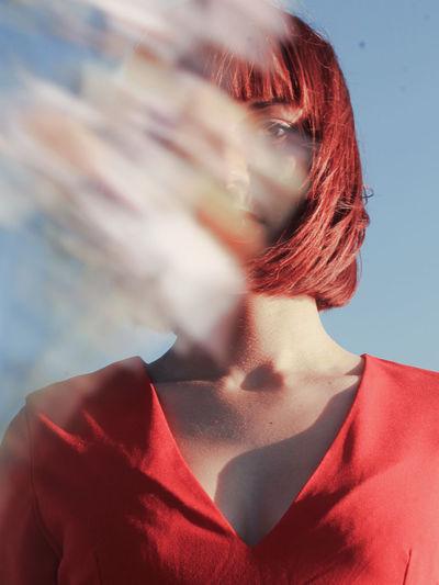 Young Women Futuristic Females Portrait Beautiful Woman Red Headshot Human Face Women Modern