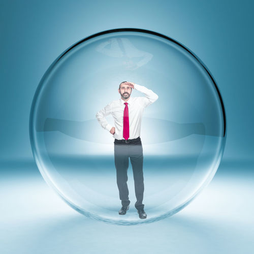 Confort-zone Businessman Glass Business Sphere Man Caucasian Space Success Crystal Work White Concept Career Closed Handsome Unhappy Capture Occupation Prison Future Job Look Trap Portrait Empty Ball Abstract Unique 3D Bubble Suffocating Freedom Protected