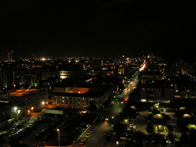 Gorgeous view of Miami by night from the balcony.. By Night Collins Avenue From The Balcony Landscape Miami Beach South Beach, Miami South Miami Nights South Pointe View Street Light Learn&Shoot:After Dark A Bird's Eye View