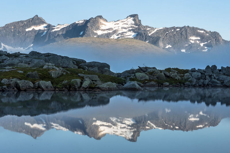 Reflection Of Mountains And Rocks On Calm Lake