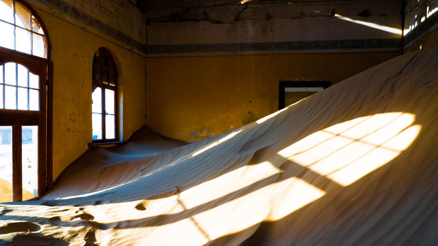 Sunlight streaming through window in building