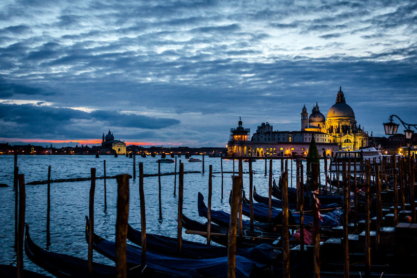 Buona notte Venezia By The Sea Dramatic Sky Sunset_collection Travel Venezia Architecture Building Exterior Built Structure Cloud - Sky Gondola - Traditional Boat Italy Moored Nature Nautical Vessel No People Outdoors Scenics Sky Sunset Transportation Travel Destinations Venice Water Wooden Post