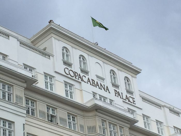 Low Angle View Of Copacabana Palace Hotel Against Cloudy Sky