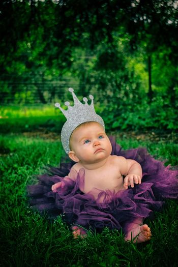 Cute child wearing crown and costume on grassy field