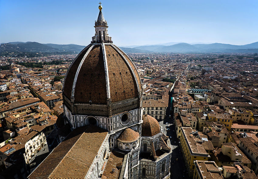 "The ""Campanile di Giotto"" is the bell tower of Santa Maria del Fiore, the cathedral of Florence, and is located in Piazza del Duomo. You can climb the long narrow ladder to the top and there you'll find this great view. You can enjoy the beauty of Florence and its cathedral Architecture Architecture City City Life Cityscape Dome Enjoying Life Famous Place Florence Florence Italy Giotto High High Angle View Italien Italy Italy❤️ Landscape Toskana Travel Destinations Tuscany"