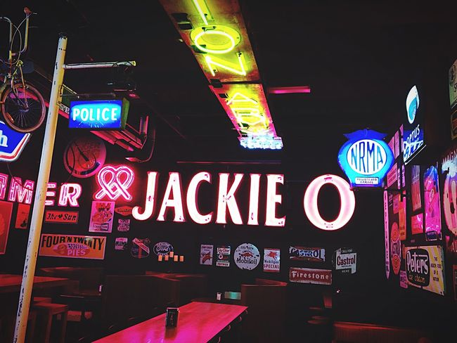 All The Neon Lights Wall to wall neon signs in this restaurant. Neon Lights Colours Colors Signs Restaurant Decor Burgers