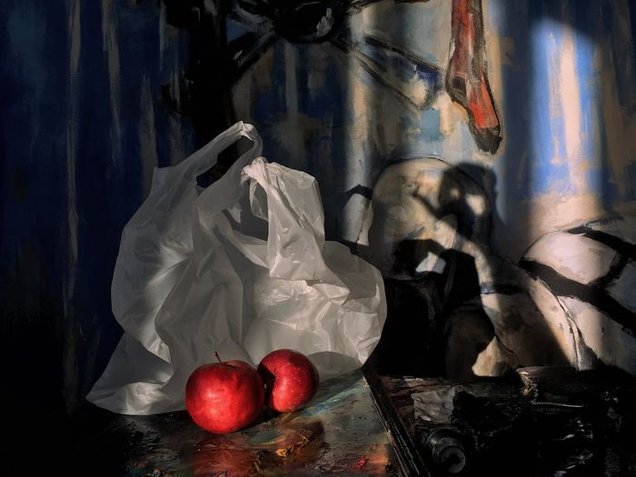 Catch that shadow Mobilephotography StillLifePhotography Still Life Apple Paint Painting Sunlight Sun Shadow Plastic Bag Plastic Indoors  Fruit Close-up No People Food And Drink Food Healthy Eating