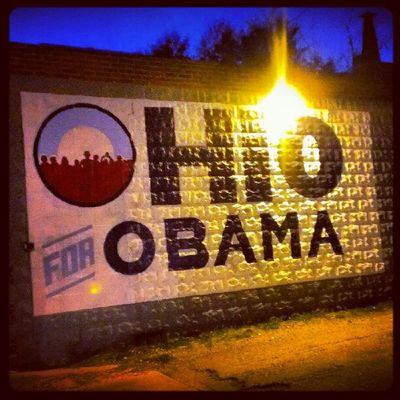 Mural on a building wall off of Hudson. <3 Ohioforobama Columbusohio Fourmoreyears !!