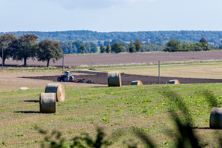 Agriculture Countryside Farming Field Hay Bales Outdoors Plowing Scenics Sunny Sweden Tractor