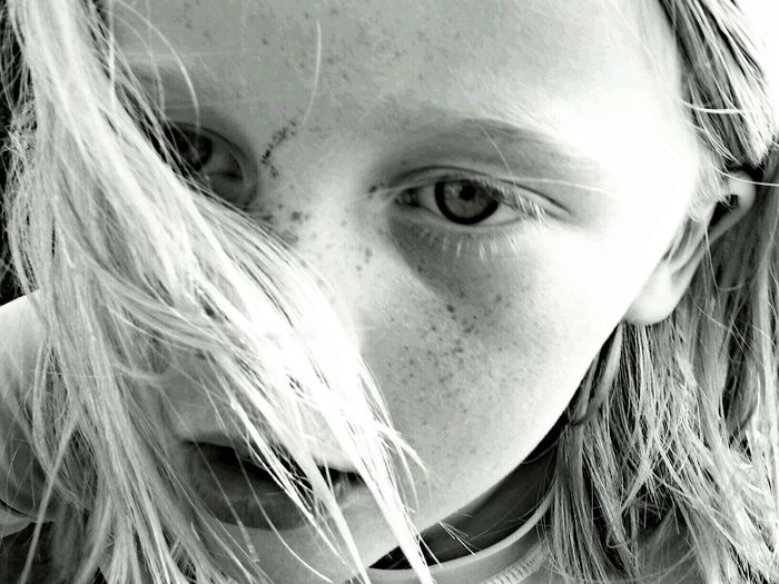 Study Black And White Black & White Face Windswept Uniqueness Close-up People One Person Young Adult Child Children Only Windswept Hair