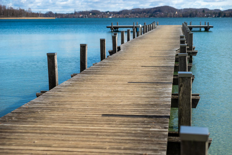 Wooden jetty on pier over lake