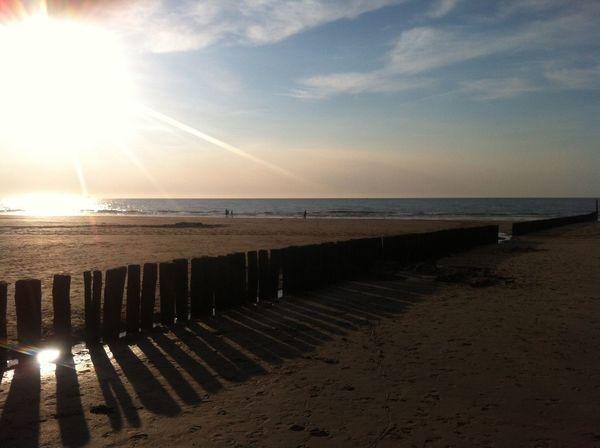 Beach Sun Sunset Sand Sea Sea And Sky Sky Beachwalk Poles Pole Landscapes With WhiteWall