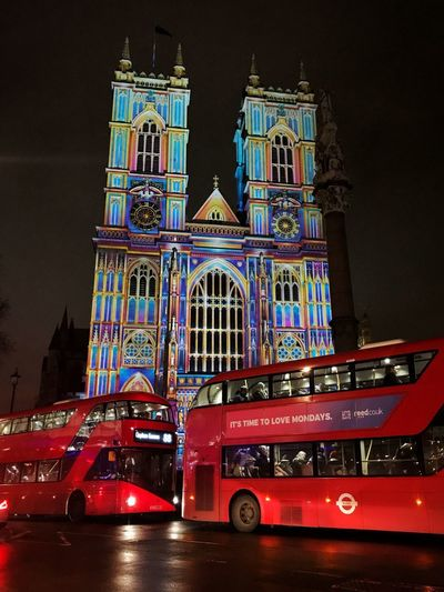 Lumiere London Westminster Abbey Transportation Double Decker Bus Bus Night Architecture Building Exterior Illuminated Built Structure Religion Place Of Worship
