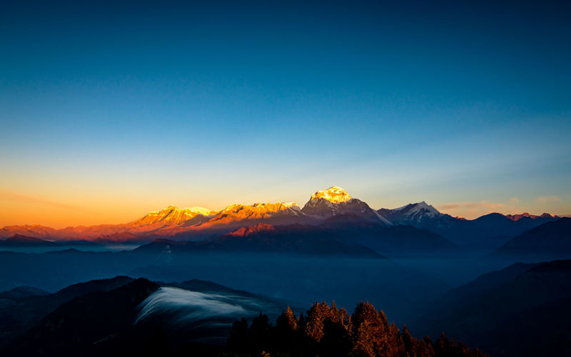 Beautiful sunrise over the mount dhaulagiri range, poonhill, nepal.