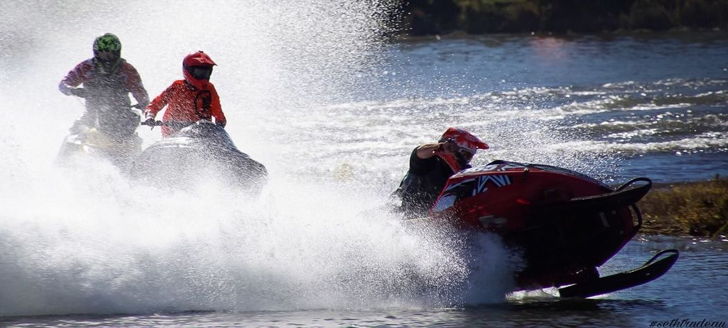 Snowmobile Racing Splashing Motion Adventure Water Sport Nautical Vessel Competition Enjoyment Sports Helmet Outdoors Speed Aquatic Sport Excitement People Sports Race Extreme Sports Day Headwear Adults Only Adult Snowmobile Racing Race Sethtrudeau Photography